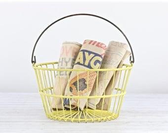 Vintage Egg Basket Yellow Egg Basket Egg Basket Wire Egg Basket Wire Basket Farmhouse Decor Rustic Farmhouse Decor Yellow Basket