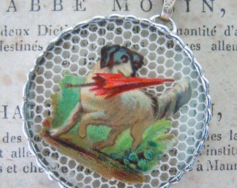 Fiona & The Fig - Double Sided - Dog with Red Umbrella - Lucky Clover Girl - Charm -  Necklace - Pendant - Jewelry