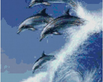 Wave Jumping Dolphins Cross Stitch Pattern