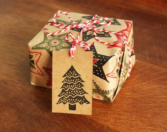 6 Christmas Tree Gift Tags, Original Hand Printed Gift Tags, Christmas Gift Tags, Brown Kraft Card, Free Postage in UK,