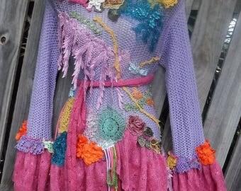 20%OFF wildskin, fantasy, bohemian top,boho top, gypsy pullover, gothic, tattered, shabby, hippy coat, knit, pink,  bohemian, shabby