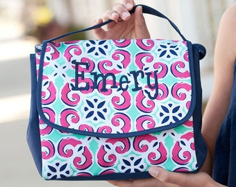 FREE pencil pouch offer FREE monogramming - Personalized Monogrammed Embroidered Mia Tile Lunch pack Lunchbox Lunch bag