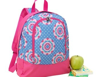 FREE monogramming - Personalized Monogrammed Preschool sized Embroidered Hot Pink Lavendar Flowers ZOEY Backpack Bookbag