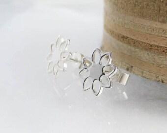Sterling Silver Open Flower Ear Stud Earrings 10mm -  Designed And Handmade By CMcB Jewellery UK