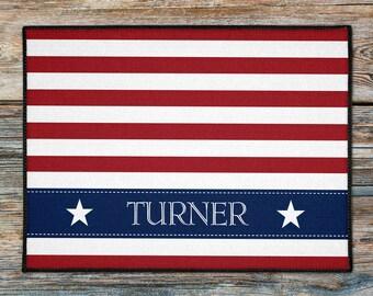Personalized Americana Door Mat, Merica Door Rug, 4th of July House Doormat, Custom Doormat, Nautical Boat Welcome Mat