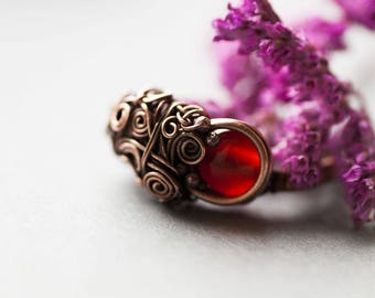 Carnelian Ring, Wire Wrapped Elvish Ring with Red Carnelian