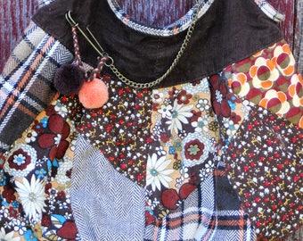 Patchwork Hobo Bag Purse Brown Orange Corduroy Plaid Floral