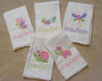 Turtle-Dragonfly-Butterfly-Snail-Caterpillar Personalized Burp Cloth Set