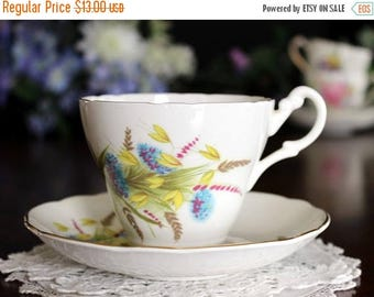 ON SALE Vintage Teacup, Tea Cup and Saucer, Royal Ascot, English Bone China, Wheat Motif 13615