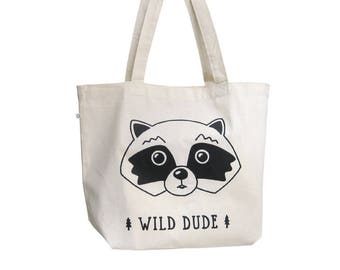 Shopper bag, Organic cotton, Reusable shopping bag, Raccoon canvas tote bag, Fabric shopper, Big tote bag, Screenprinted tote bag,