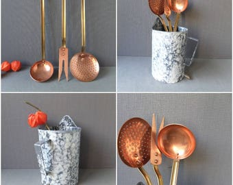 French Vintage Copper  Brass Handles Kitchen Utensils set of 3 with Enamel Storing Pot