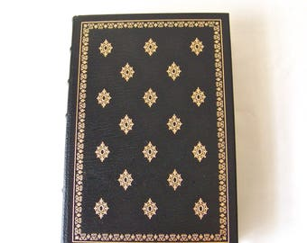 Vintage Essays-Michel De Montaigne 22k Gold Accents Full Leather Bound Franklin Library Hardcover Book Printed 1980