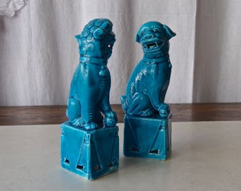 Vintage Chinese Foo Dog Figurines Porcelain Guardian Dogs Temple Dogs 1990s