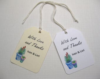 10 Thank You Wedding Favor Tags  Wedding Favors  South Western Wedding  Cactus Tags  Succulent Tags  Bridal Shower Favor Tags