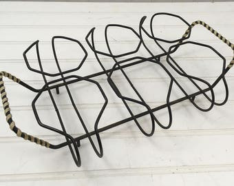 Wire Caddy for Glasses Vintage Metal Carrier for Glasses Vintage Barware Caddy