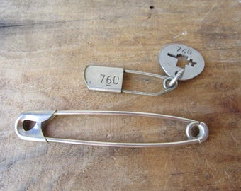 Large Vintage Safety Pin Set of Two Unique Safety Pins