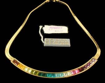 "Vintage Bijoux Givenchy Gold Tone Rainbow Princess Cut Rhinestone Necklace 15"""