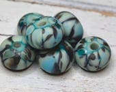 PAIR (2) lamp work beads...SRA handmade blues & lavender lampwork beads, soft colors, beads for making jewelry 121417-3