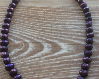 """Purple fresh water pearl necklace UK made 18"""""""