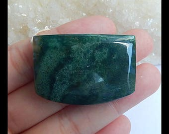 Natural Moss Agate Gemstone Pendant Bead,38x27x9mm,18.2g(h0948)