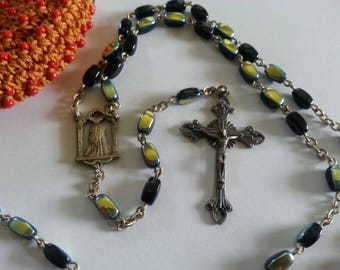 Vintage Italian Iridescent Glass Rosary with Vintage Beaded  K. Gimbel Pouch