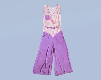 RARE!! 1930s Beach Pajamas / 30s Lavender Rayon Jumpsuit / Art Deco Shapes and Color Block / Wide Leg / Lounge Pajamas