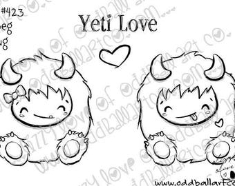 Digital Stamp Instant Download Cute & Whimsical Abominable Snowman ~ Yeti Love Image No. 423 by Lizzy Love