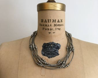 1980s Silver Runway Necklace 80s Disco