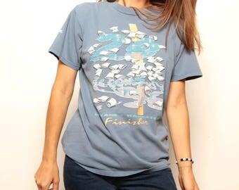 vintage 90s SPOKANE WASHINGTON marathon m.c. esher style finisher t-shirt