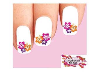 Hawaii nail art etsy waterslide nail decals set of 20 colorful hawaiian hibiscus flowers prinsesfo Image collections