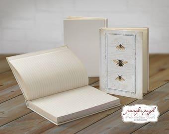 Bees 5x7 Hardback Bound Journal -Inspirational, Word Art