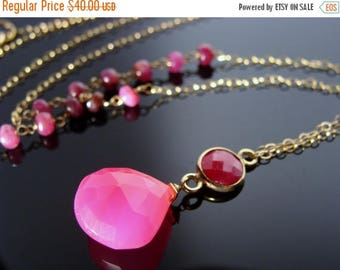 Bezel Set Ruby and Hot Pink Chalcedony 14k Gold Filled Necklace