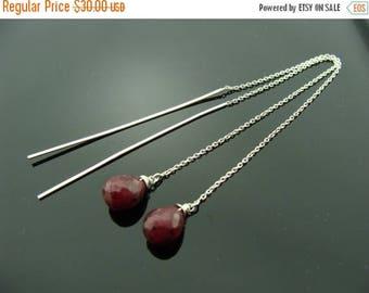 Long Ruby Drop 925 Sterling Silver Ear Threads