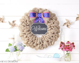 Spring Wreaths For Front Door, Outdoor Easter Decorations, Burlap Wreath, Interchangeable Bow and Sign for Summer