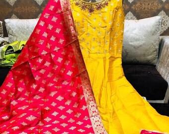 Beautiful Floor Length Anarkali Dress / Designer Dress / Salwar Kameez / Bollywood Dress
