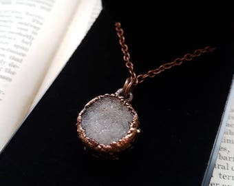 Electroformed Necklace - Natural white/gray Druzy electroformed necklace - electroformed jewellery- electroforming-  copper - UK
