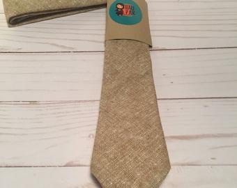 Brown/Beige Linen Skinny Tie, wedding party tie, wedding guest tie, gifts for him, gifts for men, groomsmen tie, tie for men, men's tie, tie