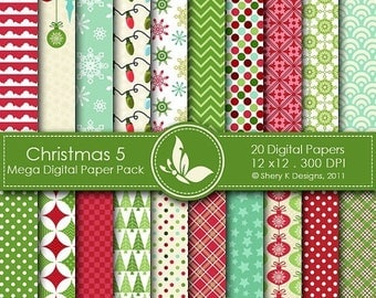 40% off Christmas 5 Mega Paper Pack - 20 Printable Digital papers - 12 x12 - 300 DPI //////5