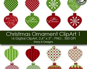 40% off Christmas Ornament Clip Art - 16 Digital clip art -2.6x3 - 300 DPI