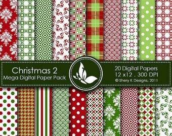 40% off Christmas Mega Paper Pack 2 - 20 Printable Digital papers - 12 x12 - 300 DPI  ////02