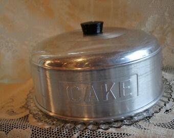 Aluminum Cake Saver with Glass Platter, Cake Server, Pie Server