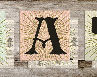 EAT Vintage Style Typography Letter Word Art Prints from Curious London