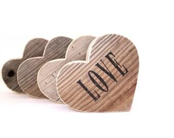 5th anniversary gift . LOVE . wood heart . heart decor.  wooden hearts . rustic wedding decor . wood anniversary 5 year . anniversary wood