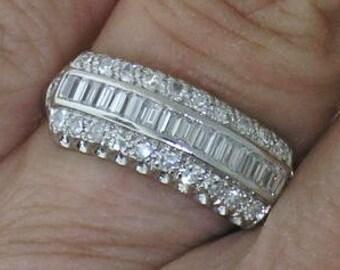 Platinum Diamond Band~Antique Platinum Diamond Wedding Band, Circa 1930's