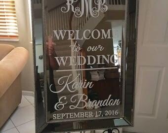 Wedding Welcome Mirror Decal/Welcome Wedding Mirror Hashtag Vinyl Decal/ Wedding Welcome Sign/ Welcome Mirror/ Hashtag Sign/Bridal Shower
