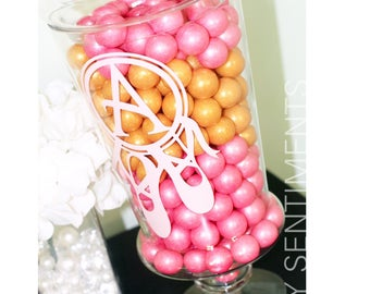 Ballerina Initial Vinyl Monogram/ Vinyl Jar Label for candy jars and vases