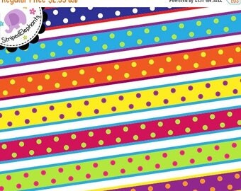 40% OFF SALE Digital Clip Art - Crazy Dotty Digital Ribbon Clipart - Instant Download - Commercial Use