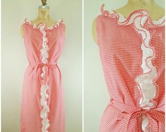 20% OFF SALE Vintage 1960s Dress / Red and White Gingham Summer Dress / Wash 'N Wear Dress / Large