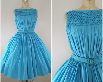 Vintage 1950s 1960s Dress / Turquoise Sundress / Sleeveless Summer Dress / Cotton 50s Dress / Small Medium