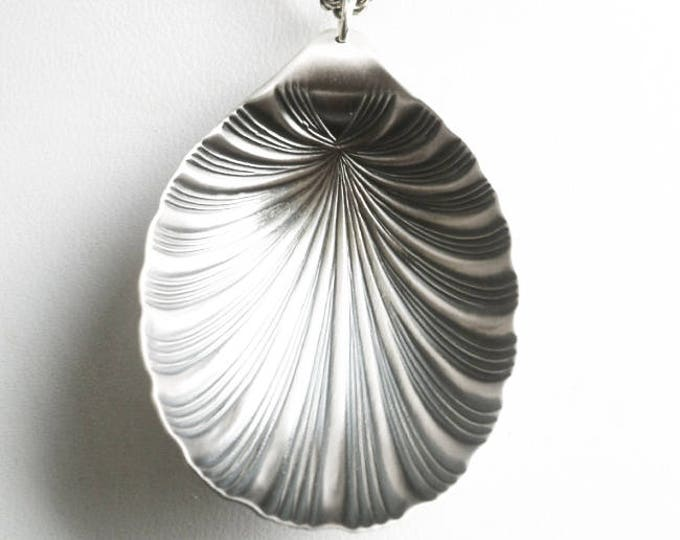Scallop Shell Necklace, Sterling Silver Spoon Necklace, Spoon Pendant, Repurposed Jewelry, Recycled Jewelry, Spoon Statement Necklace (6796)